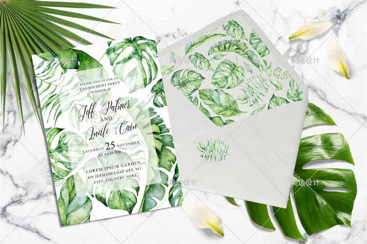 Fern Design Border Complete Stationery and Invitation Suite Set Including Personal Customization