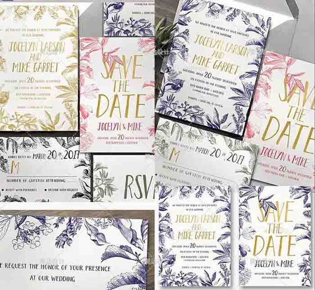 Summer Colored Tropical Leaves Complete Stationery and Invitation Suite Set Including Personal Customization