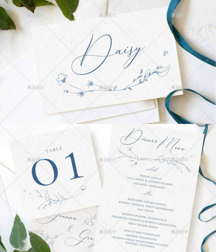 Navy Blue Complete Stationery and Invitation Suite Set Including Personal Customization