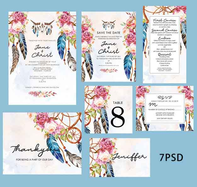 Dream Catcher Design Complete Stationery and Invitation Suite Set Including Personal Customization