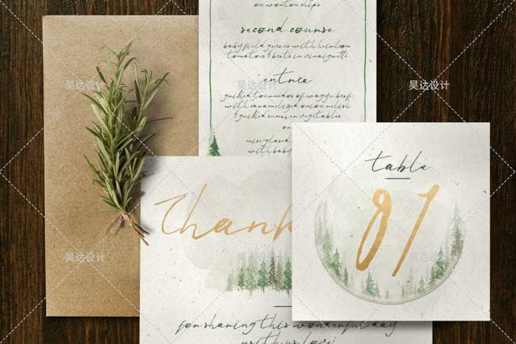 Forest Watercolor Pine Tree Design Complete Stationery and Invitation Suite Set Including Personal Customization