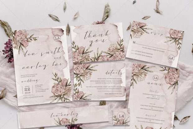 Elegant Unique Floral Blush Complete Stationery and Invitation Suite Set Including Personal Customization