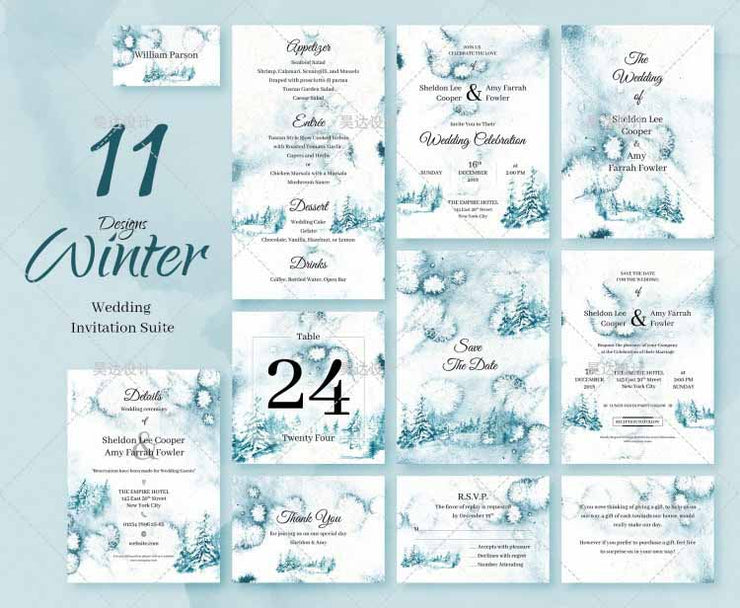 Light Blue Pastel Watercolor Complete Stationery and Invitation Suite Set Including Personal Customization