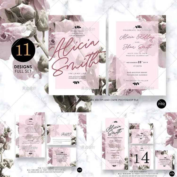 Elegant Garden Pink Flower Complete Stationery and Invitation Suite Set Including Personal Customization