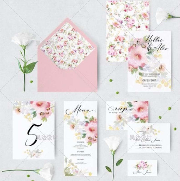 Bright Floral Design Complete Stationery and Invitation Suite Set Including Personal Customization