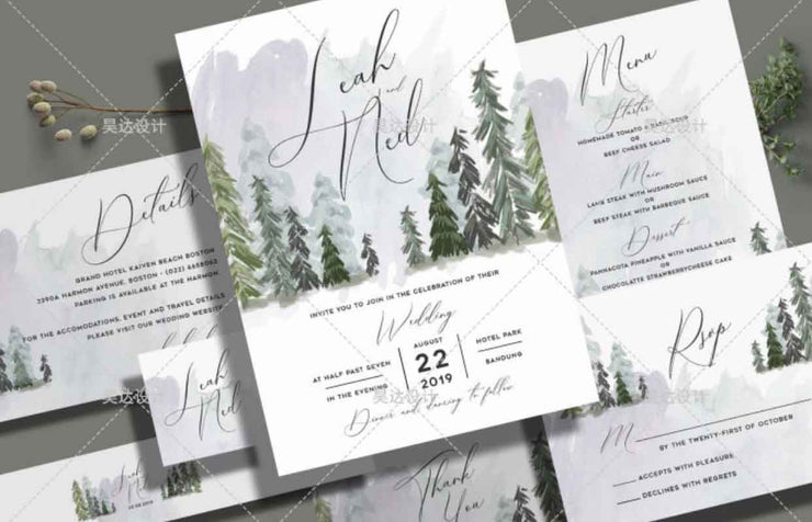 Watercolor Pine Tree Complete Stationery and Invitation Suite Set Including Personal Customization