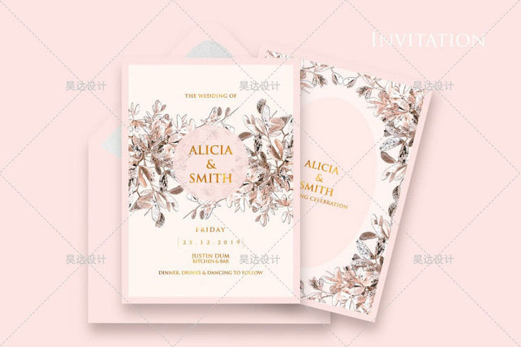 Pink with Rustic Brown Leaf Border Design Complete Stationery and Invitation Suite Set Including Personal Customization