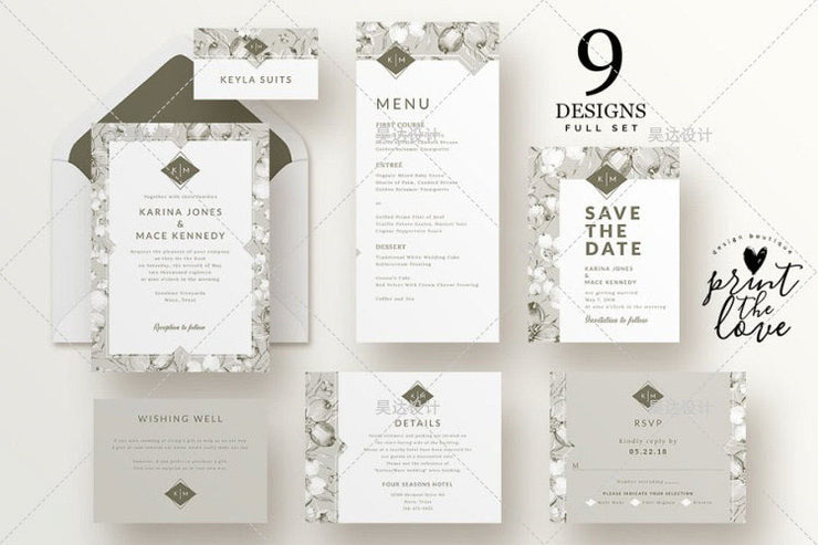 Sage Green Complete Stationery and Invitation Suite Set Including Personal Customization