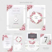 Pink and Gray Floral Complete Stationery and Invitation Suite Set Including Personal Customization