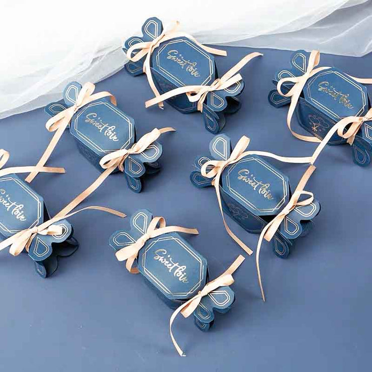 50 PCS Blue Candy Boxes for Wedding Guest Favors