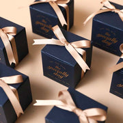 50 PCS Navy Square Wedding Candy Boxes for Guest Favors