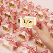 50 PCS Pink 'Wish' Wedding Candy Boxes for Guest Favors