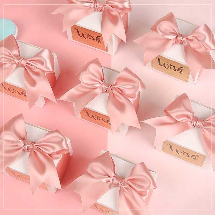 50 PCS Champagne Gold 'Wish' Wedding Candy Boxes for Guest Favors