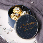 50 PCS Midnight Blue Round Candy Boxes with Gold Lettering for Guest Favors