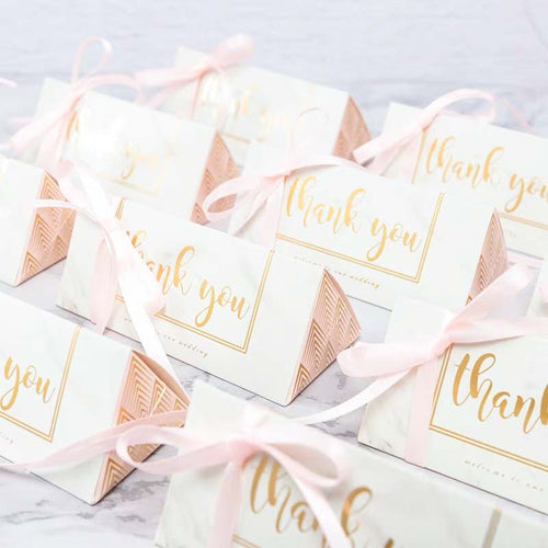 50 PCS Guest Favors Triangular Candy Boxes with Ribbon and Thank You Gold Lettering