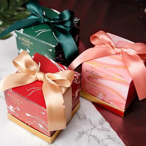 50 PCS Romantic Love  Candy Boxes with Ribbon For Guest Favors 3 Choices Of Colors