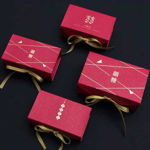 50 PCS Dark Red Candy Boxes with Gold Ribbon for Guest Favors