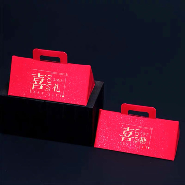 50 PCS Chinese Modern Double Happiness Triangular Wedding Candy Boxes for Guest Favors