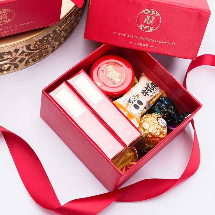 50 PCS Classic Double Happiness Wedding Candy Boxes for Guest Favors