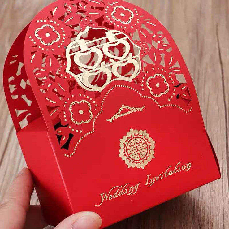 50 PCS Laser Cut Double Happiness Wedding Candy Boxes for Guest Favors
