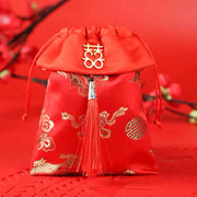 50 PCS Red Wedding Candy Bags with Red Tussel for Guest Favors