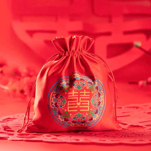 50 PCS Red Wedding Candy Bags with Happiness Ornament for Guest Favors