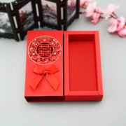 50 PCS Plain Red Candy Boxes with Ribbon And Ornament Design for Guest Favors