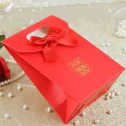 50 PCS Red Paper Bag for Candies with Ribbon for Guest Favors