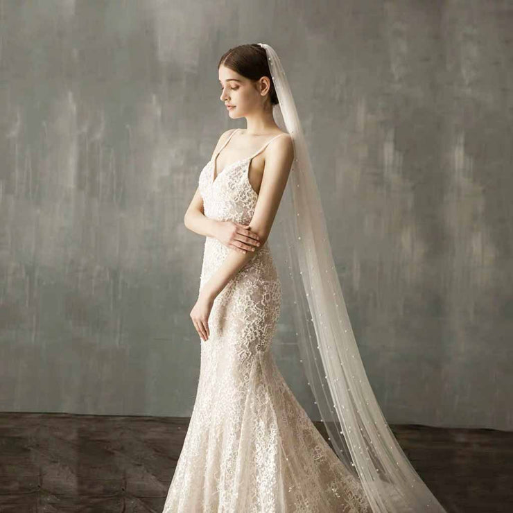 Long Luxurious Wedding Bridal Veil with Elegant Pearl Embellishments