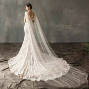 Elegant Shoulder Cape Design Wedding Bridal Veil