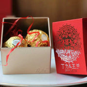 50 PCS Silver Wedding Candy Boxes with Red Paper Cut Into Ornament Details for Guest Favors