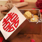 50 PCS Gold Double Happiness Logo Wedding Candy Boxes for Guest Favors