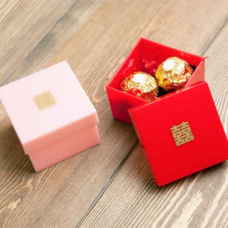 50 PCS Acrylic Wedding Candy Boxes with Gold Double Happiness Sign for Guest Favors