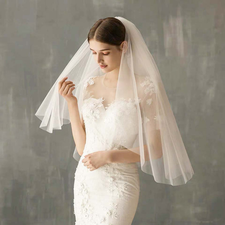 Elbow Length Blusher Wedding Bridal Veil