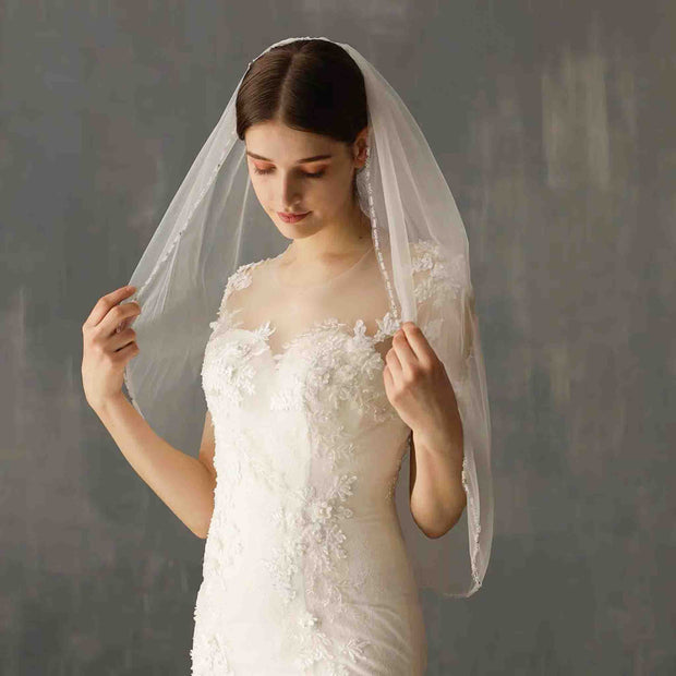Beaded Lining Wedding Bridal Veil Elbow Length
