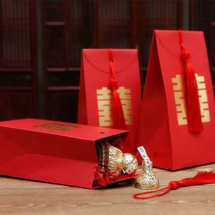 50 PCS Red Wedding Candy Paper Bag with Tussel for Guest Favors