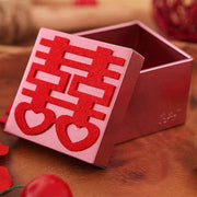 50 PCS  Wedding Candy Boxes Designed with Red Unique Laser Cut Details for Guest Favors