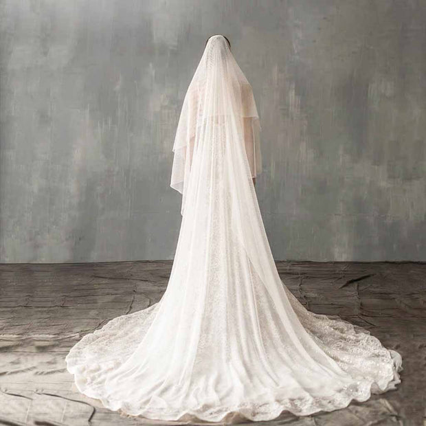 Elegant Net Design Long Wedding Bridal Veil