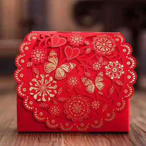 50 PCS Red Butterfly Laser Cut Wedding Candy Boxes for Guest Favors