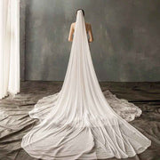 Beautiful Plain Soft White Cathedral Length Wedding Bridal Veil