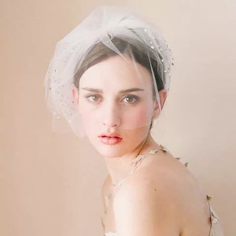 Birdcage Style Wedding Bridal Veil with Crystal Beads