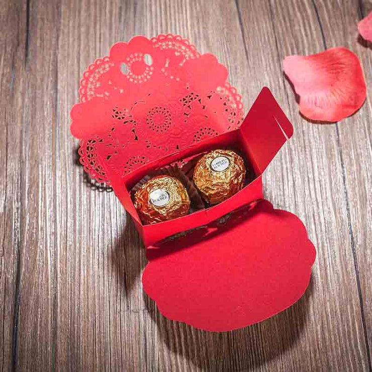 50 PCS Red Floral Laser Cut Wedding Candy Boxes for Guest Favors