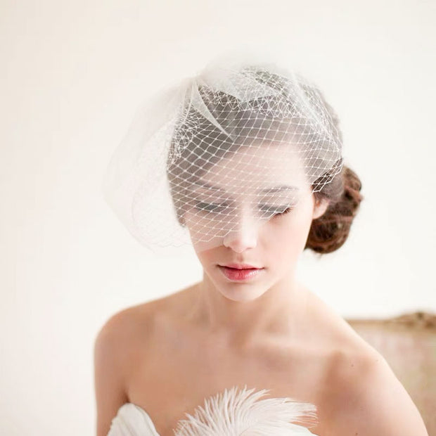 Dramatic Net Design Birdcage Wedding Bridal Veil