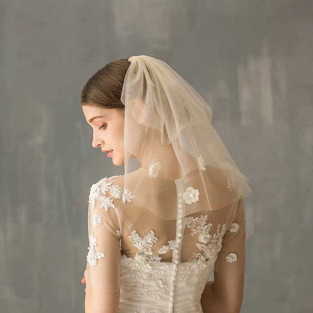 Blusher Wedding Bridal Veil with Floral Lace and Crystal Sequin