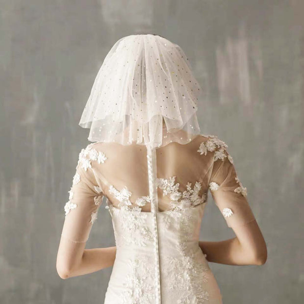 Short Wedding Bridal Veil with Star Sequins