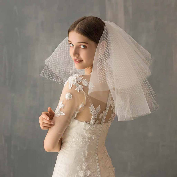 Chiffon and Net Design Shoulder Length Wedding Bridal Veil