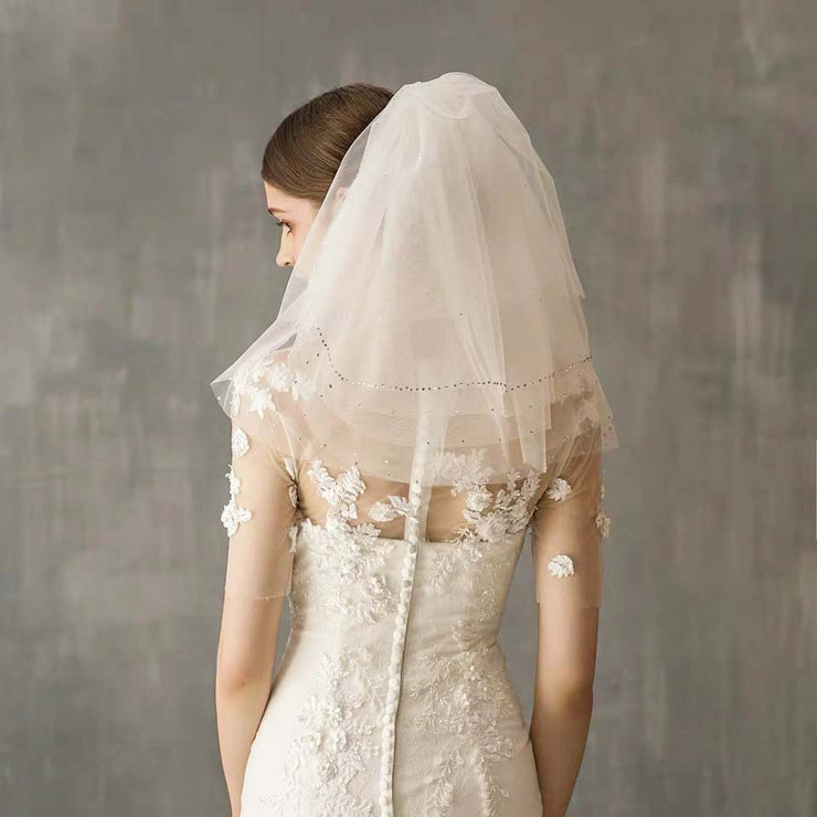 Blusher Wedding Bridal Veil with Crystal Sequin on Edge