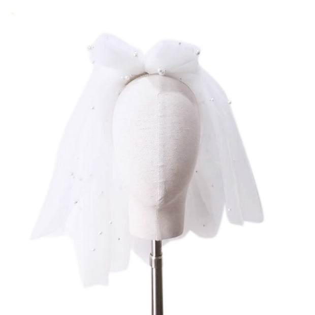 Pearly Shoulder Length Wedding Bridal Veil with Ribbon on top