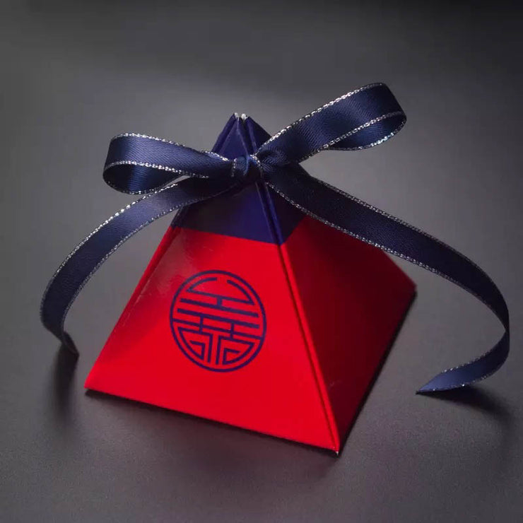 50 PCS Triangular Modern Double Happiness Wedding Candy Boxes with Navy Blue Design