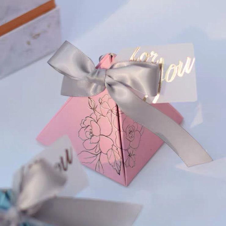 50 PCS Triangular Guest Favors Dusty Blue Wedding Candy Boxes with Gold Foil Floral Print